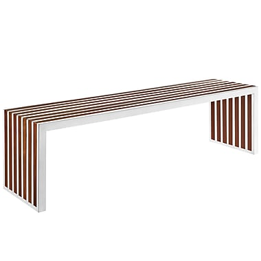 Modway Gridiron EEI-1430-WAL Walnut Wood Bench, Large
