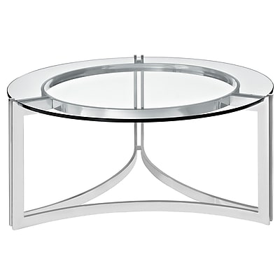 "Modway Signet EEI-1438-SLV 15"" Round Coffee Table, Clear"