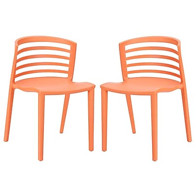 Modway Curvy EEI-935 Set of 2 Plastic Dining Chairs, Orange