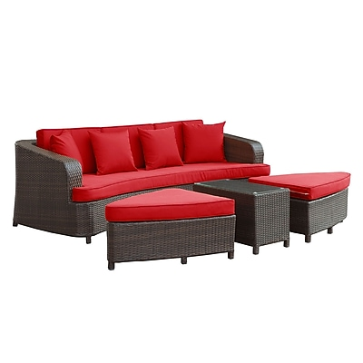 Modway Monterey EEI-992-BRN-RED-SET 4 Piece Fabric Sofa Set , Brown/Red