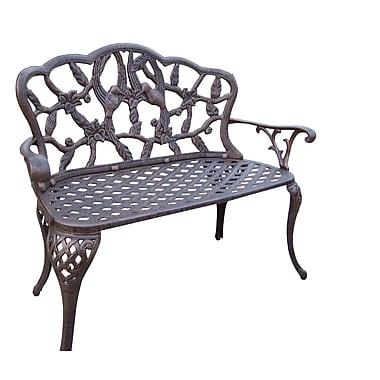 Oakland Living Hummingbird Aluminum Garden Bench; Antique Bronze