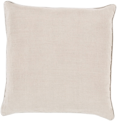 "Surya LP008-2222P Linen Piped 100% Linen, 22"" x 22"" Poly Fiber"