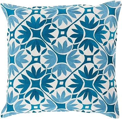 "Surya KSF002-2222P Floral Geo 100% Cotton, 22"" x 22"" Polyfill"