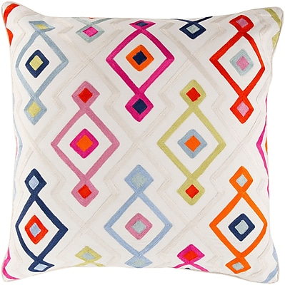 "Surya KSG001-1818D Woven Geo 100% Cotton, 18"" x 18"" Down Fill"