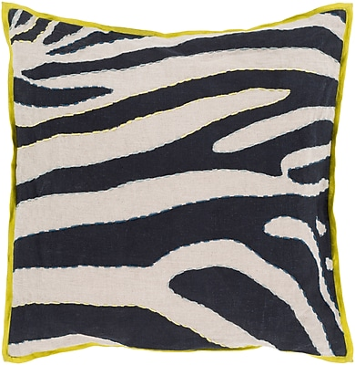 """Surya LD042-2222P Zebra 100% Linen, 22"""" x 22"""" Polyfill"""