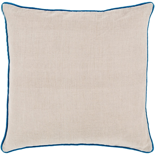 "Surya LP005-2222P Linen Piped 100% Linen, 22"" x 22"" Poly Fiber"