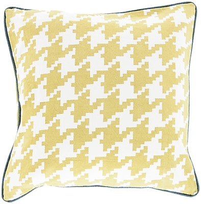 """Surya SY041-2222P Houndstooth 100% Cotton, 22"""" x 22"""" Polyfill"""