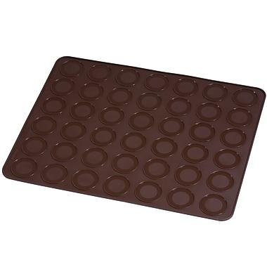 Pavoni - Moule de cuisson en silicone platine, tapis à macarons, 15 po x 11,8 po, brun