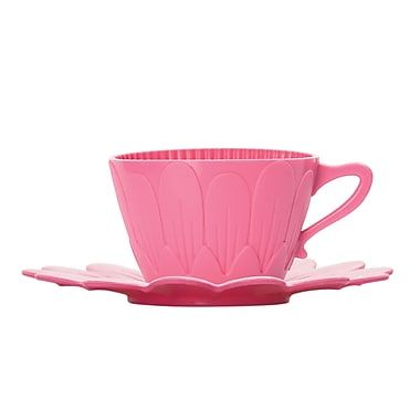 Pavoni Special Edition Daisy Bake & Serve Cup Moulds, Includes 2 Cups & 2 Saucers, Pink
