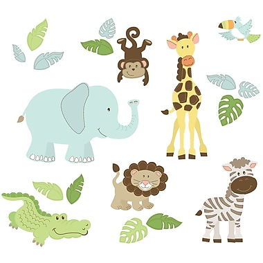 WALL POPS!MD – Trousse d'art mural « Safari Buddies » pour grand mur, 20 autocollants
