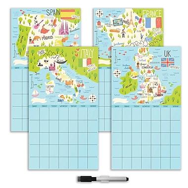 WALL POPS!® 4-Piece Dry Erase Calendar Set, Bon Voyage