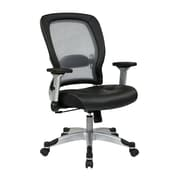 Office Star SPACE Leather Computer and Desk Office Chair, Adjustable Arms, Black (327-E36C61F6)