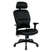Space Seating Leather Computer and Desk Office Chair, Fixed Arms, Black (32-E3371F3HL)