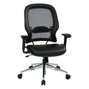 Space Seating Air Grid Leather Computer and Desk Office Chair, Fixed Arms, Black (335-E37P918P)