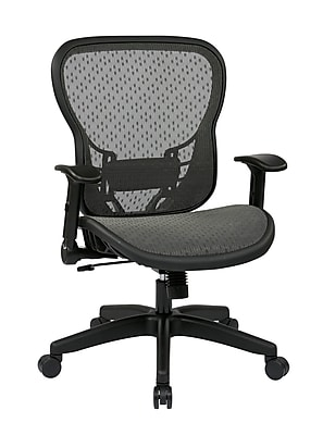 Space Seating SPACE Leather Computer and Desk Office Chair, Fixed Arms, Black (529-R22N1F2)