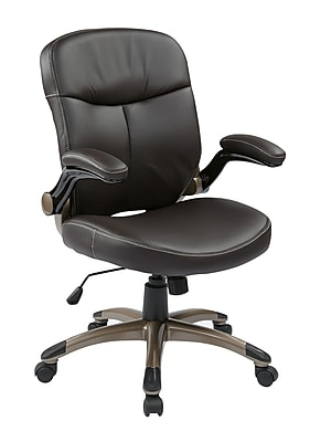 Work Smart Eco Leather Computer and Desk Office Chair, Fixed Arms, Espresso/Cocoa (ECH37811-EC1)