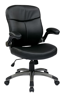 Work Smart Eco Leather Computer and Desk Office Chair, Fixed Arms, Black/Titanium (ECH37817-EC3)