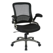 Work Smart Mesh Computer and Desk Office Chair, Fixed Arms, Black (EM35207-3)