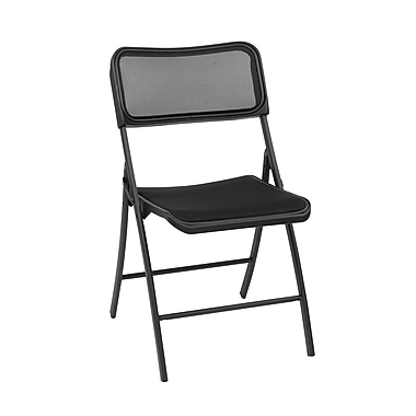 Work Smart Folding Chair with Screen Seat, Metal Folding Chair Black, 2/Pack