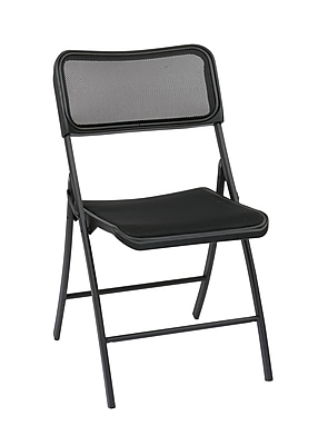 Work Smart Metal Folding Chair with Screen Seat, Black, 2-Pack