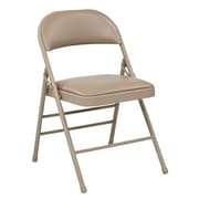 Work Smart Folding Chair with Seat and Back, Metal & Vinyl Folding Chair Tan