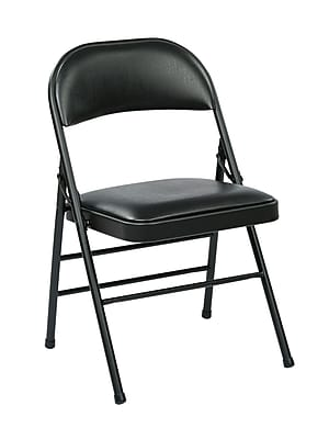 Work Smart Folding Chair with Seat and Back, Metal & Vinyl Folding Chair Black