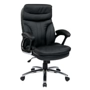 Work Smart Faux Leather Computer and Desk Office Chair, Fixed Arms, Black (FL2604C-U6)