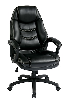 Office Star WorkSmart Leather Executive Office Chair, Fixed Arms, Black (FL3422-U6)