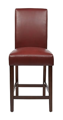 OSP Designs Not available 43.5'' Traditional Legged Base Leather Bar Stool, Crimson (MET2824-RD)