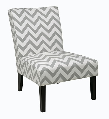 Ave Six Victoria Fabric & Wood Chair; Zig Zag Grey