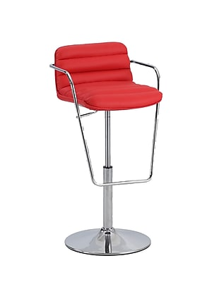 Chintaly Adjustable Height Bar Stool; Red WYF078277067753