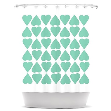 KESS InHouse Diamond Hearts Shower Curtain; Mint