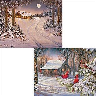 LANG – Cartes de Noël, Meadowlands Cabin (anglais), 2 motifs, 18/boîte