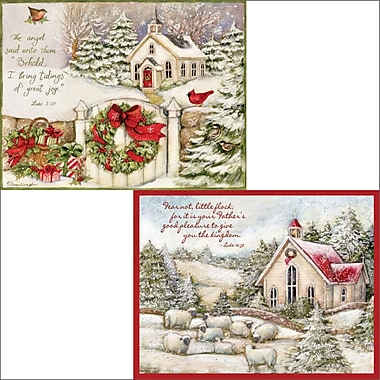 LANG Christmas Cards, Little Church, 2 Designs, English, 18/Box
