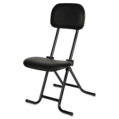 Alera Plus IL Series Height-Adjustable Fabric-Backed Vinyl Folding Stool, Black AAPCS612
