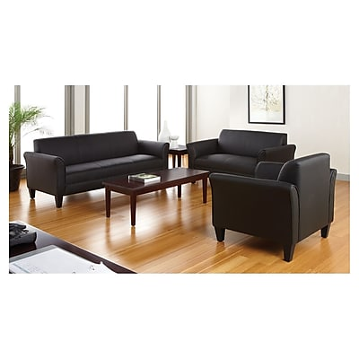 Alera® Reception Lounge 3-Cushion Sofa, Black