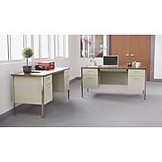 Alera, Double Pedestal Steel Desk, Metal Desk, 60w x 30d x 29-1/2h, Oak/Putty