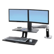 "Ergotron® 37"" x 21 1/2"" Sit-Stand Workstation With Suspended Keyboard, Polished Aluminum"