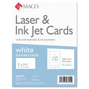 "Maco® 2"" x 3 1/2"" Microperforated Business Card, White, 2500/Box"