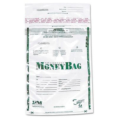 PM® Company PMC58019 Money Bag, Clear