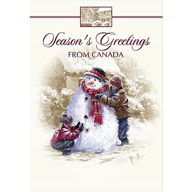 Christmas Cards, Season's Greetings from Canada & Snowman, 18/Pack