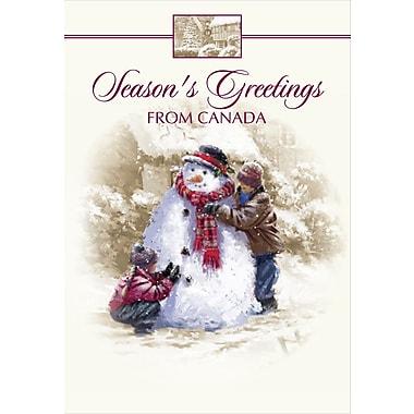 Cartes de Noël, Season's Greetings from Canada (anglais), bonhomme de neige, paq./18