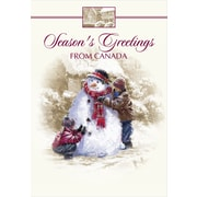 Cartes de Noël, Season's Greetings from Canada (anglais), bonhomme de neige, paq./18