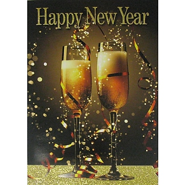 New Year Cards, Happy New Year Champagne, 18/Pack
