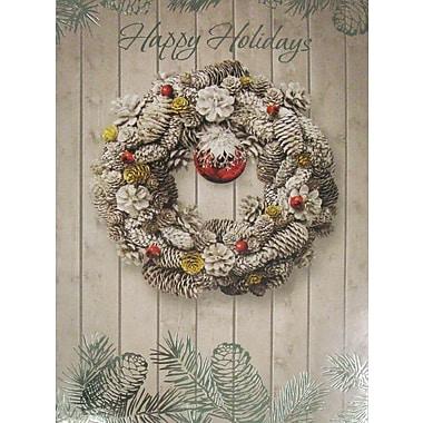 Cartes de Noël, « Happy Holidays », couronne de Noël, 18/paquet