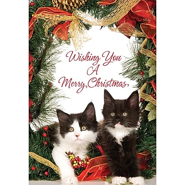 Cartes de Noël, Wishing You a Merry Christmas (anglais), chatons, paq./18