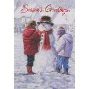 Cartes de Noël, Season's Greetings (anglais), avec bonhomme de neige, paq./12