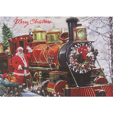 Christmas Cards, Santa with Train, 12/Pack