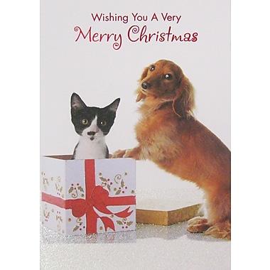 Cartes de Noël, chien et chat, paq./12