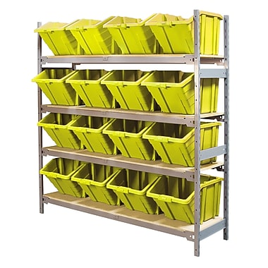 Kleton Wide Span 4 Shelf Shelving with Plastic Bins, Assorted